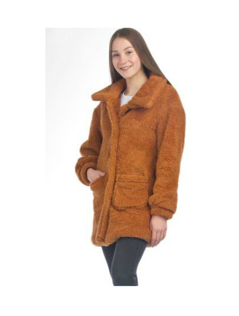 Papillon Faux Fur Jacket in Mustard