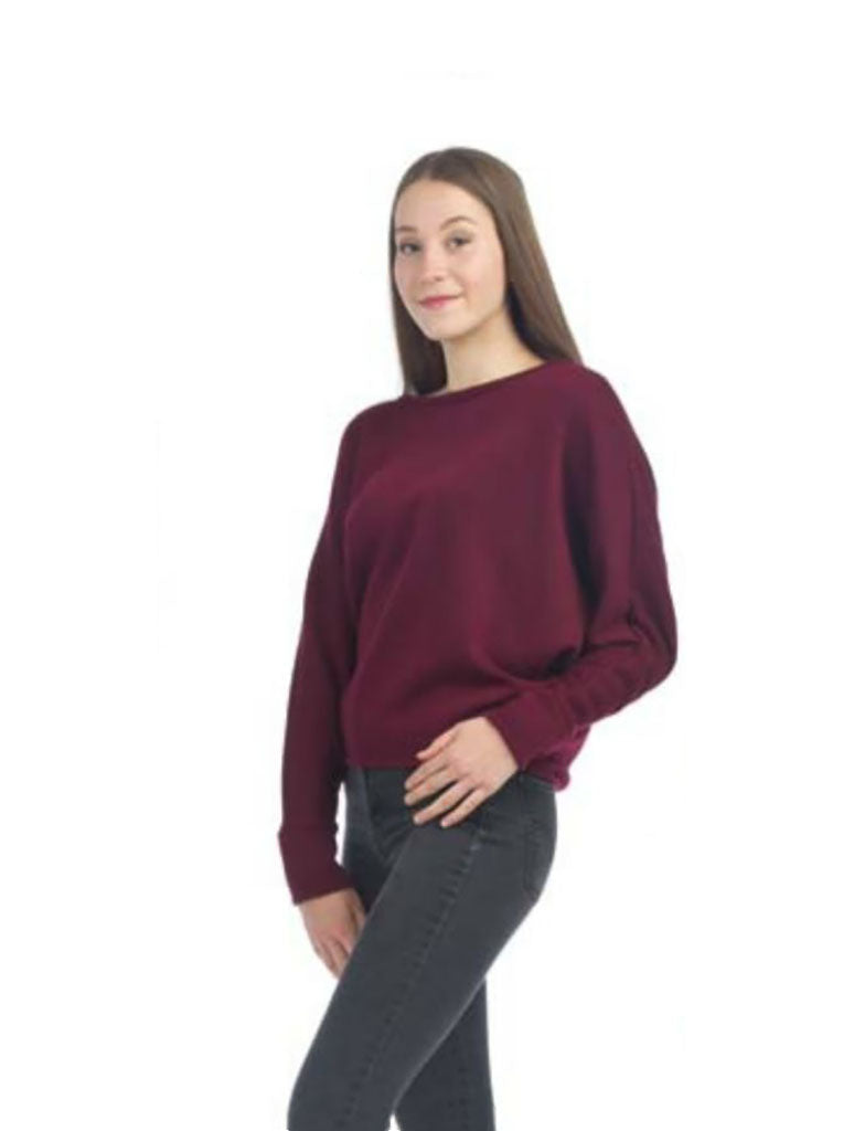 Papillon Dolman Crop Sweater in Burgundy
