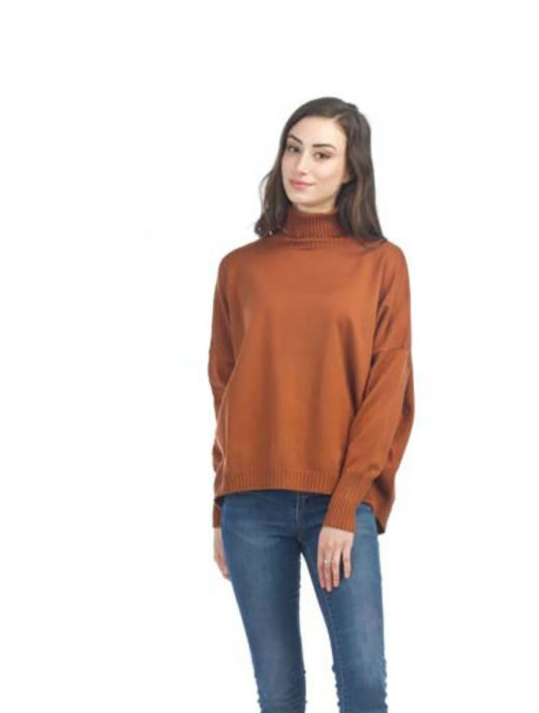 Papillon Ribbed Turtle Neck Sweater in Rust