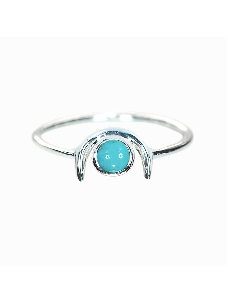 Pura Vida 1/2 Moon Turquoise Ring in Silver