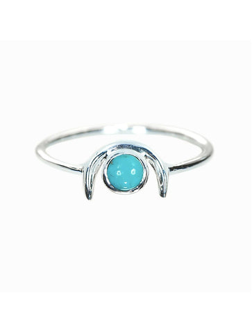 Pura Vida Howlite 1/2 Moon Ring in Silver