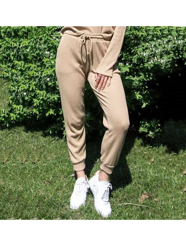 RDSTYLE Waffle Joggers in Praline