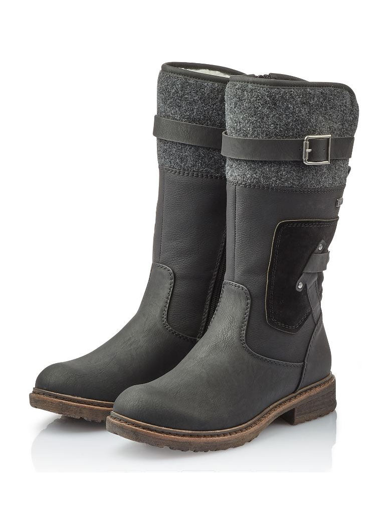 Rieker 3/4 Boot in Schwarz Black