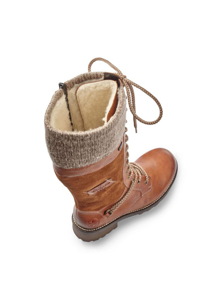 Rieker Tall Knit Collar Boot in Brown