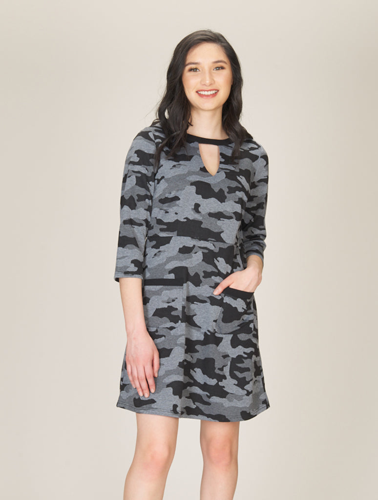 Papillon Keyhole Neck Dress in Grey Camo