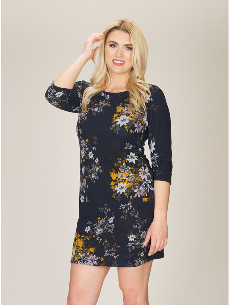 Papillon Floral Print Dress in Navy