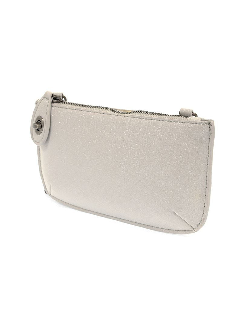 Joy Susan Sparkle Mini Crossbody/Wristlet in Light Grey.