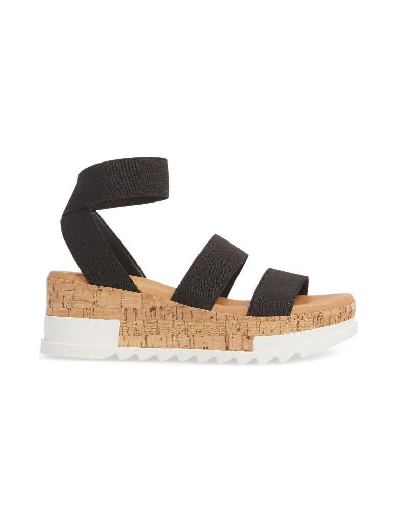 Steve Madden Bandi Wedge Sandal in Black