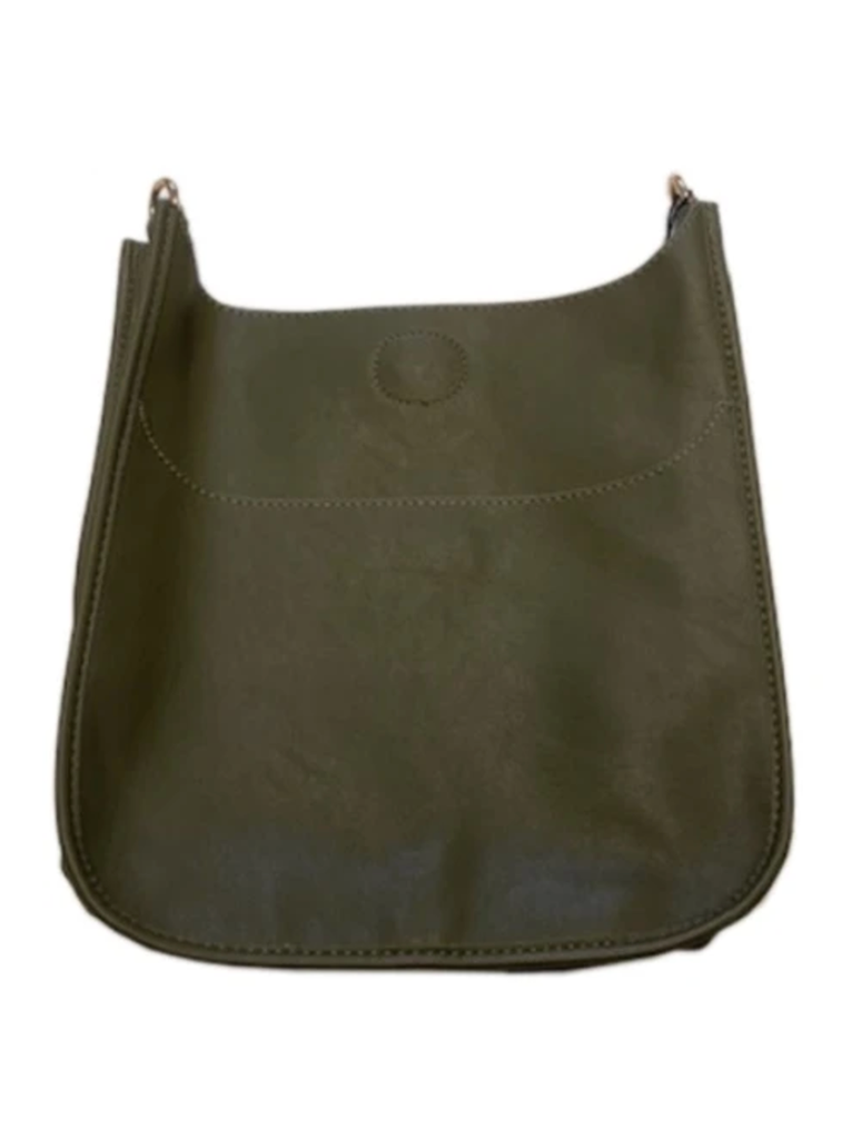 Ahdorned Soft Faux Leather Classic Large Size Messenger Bag in Olive - No Strap