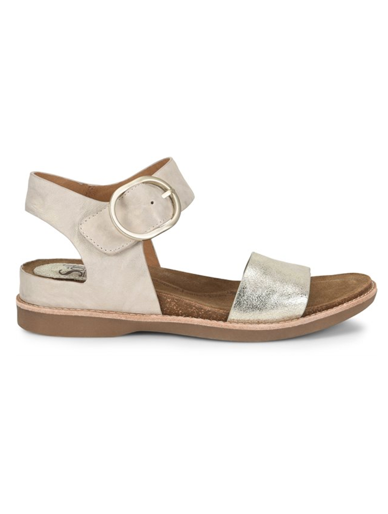 Sofft Bali Buckle Flat Sandal in Light Grey