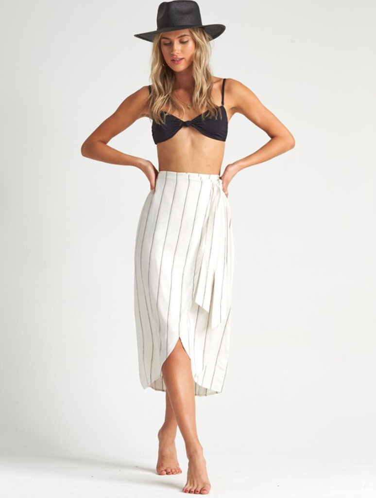 Billabong Stay Sarong Wrap Skirt in Salt Crystal