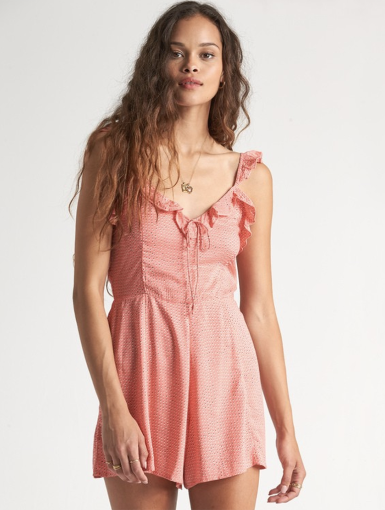Billabong Flirty Free Romper in Coral Kiss