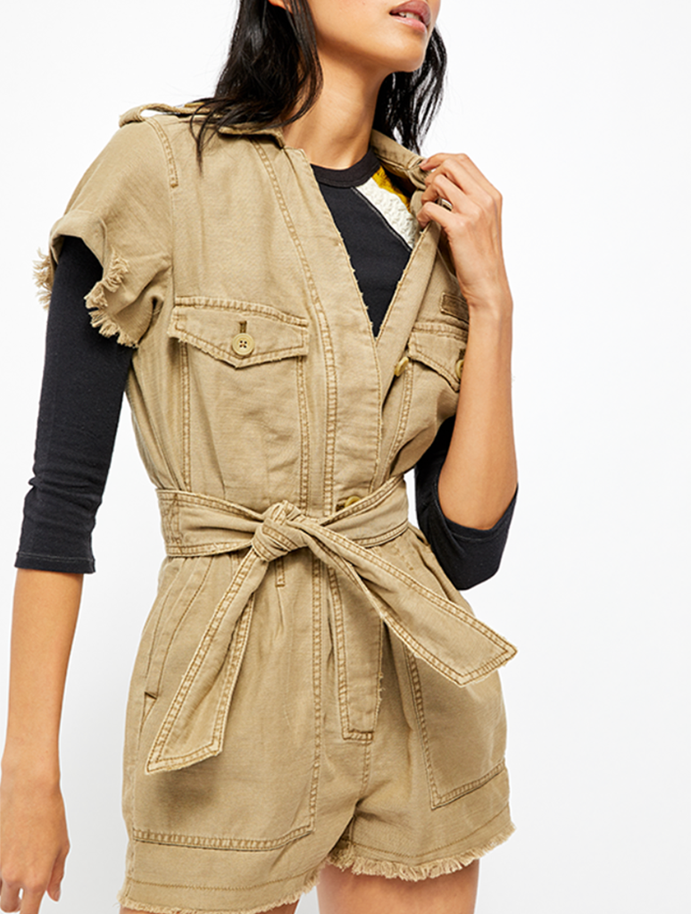 Free People Off The Beaten Path Romper in Moss