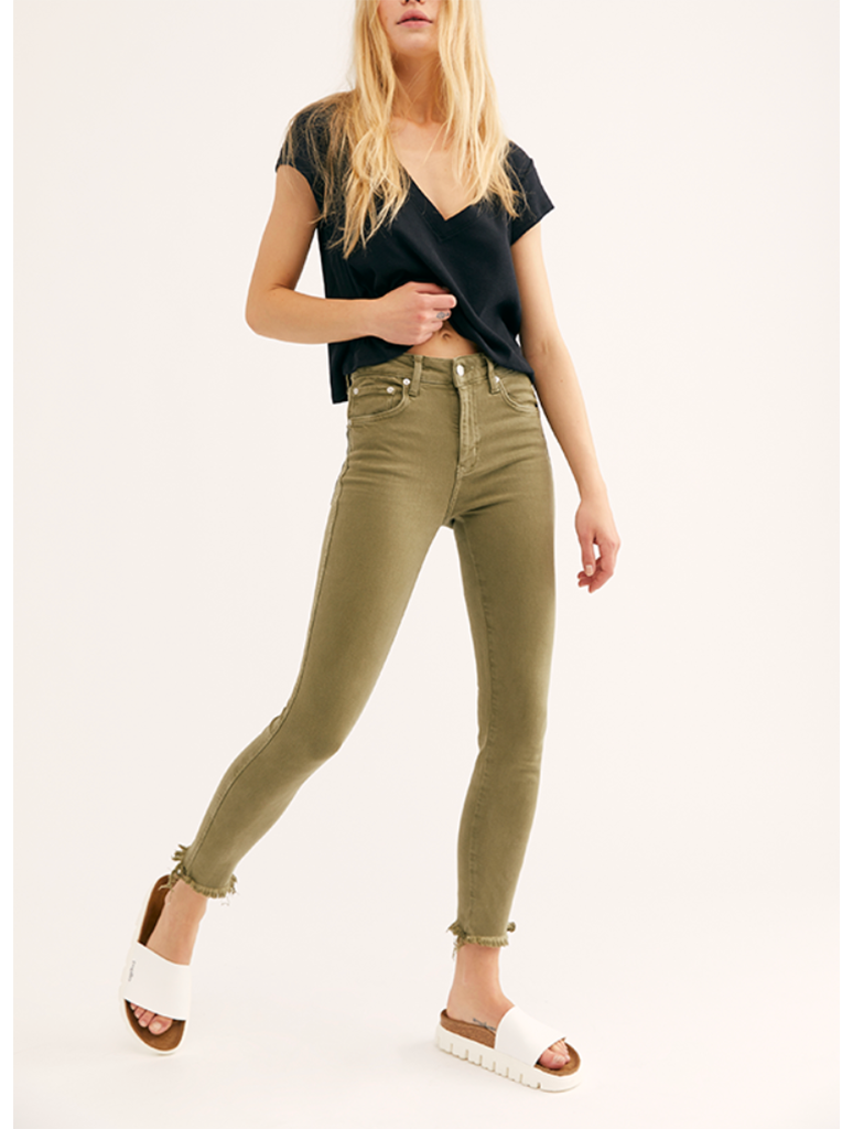 Free People Raw High Rise Jegging in Army
