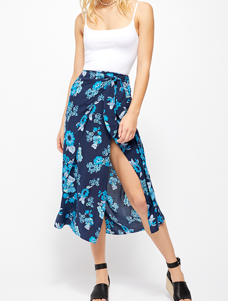 Free People Sunray Midi Sarong Skirt in Blue