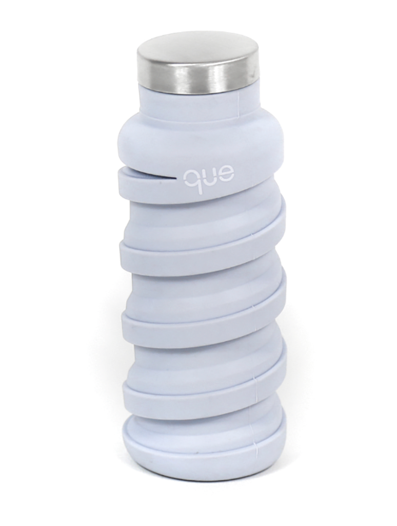 Que Collapsible Silicone 12oz Travel Water Bottle in Cloud Grey