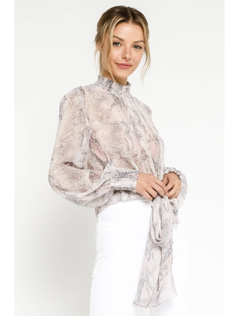 Olivaceous Tie Neck Snake Print Blouse in Blush