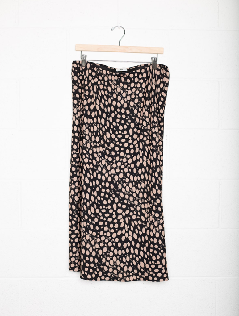 No Less Than NLT Printed Midi Skirt in Black