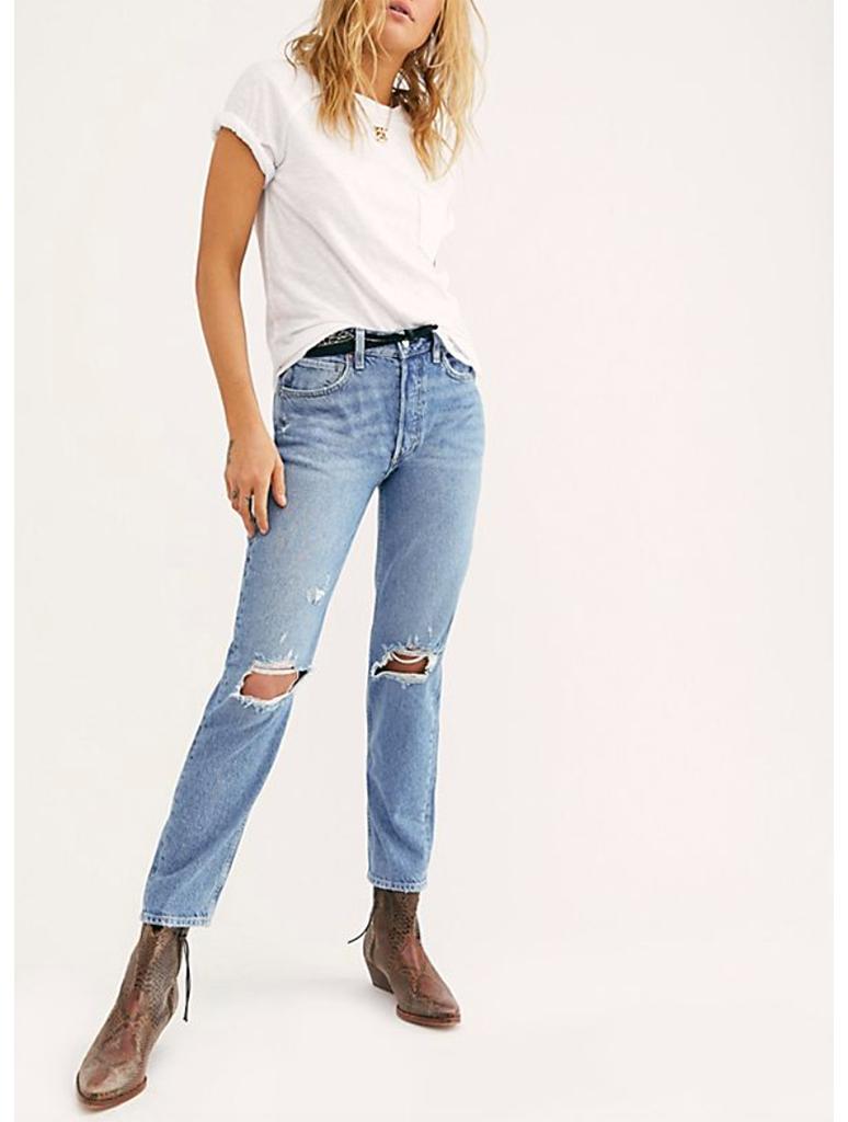 Free People Fast Times High Rise Mom Jean in Blue