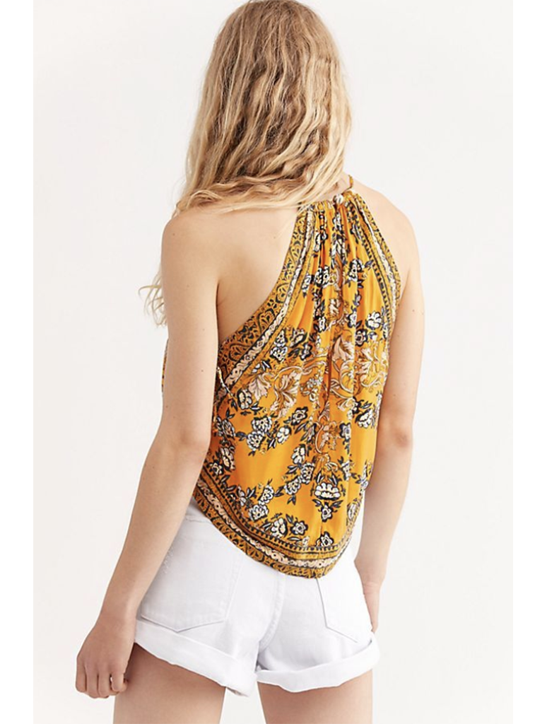 Free People Sophia Printed Halter Top in Gold