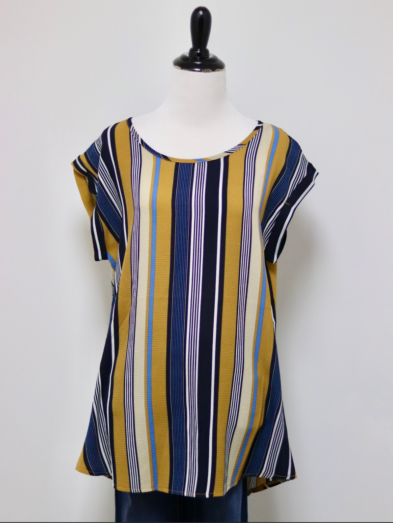 Papillon Striped Top in Mustard
