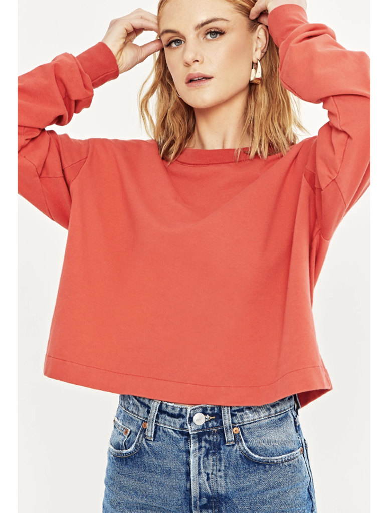 Project Social T You Say Boxy Sweatshirt in Strawberry