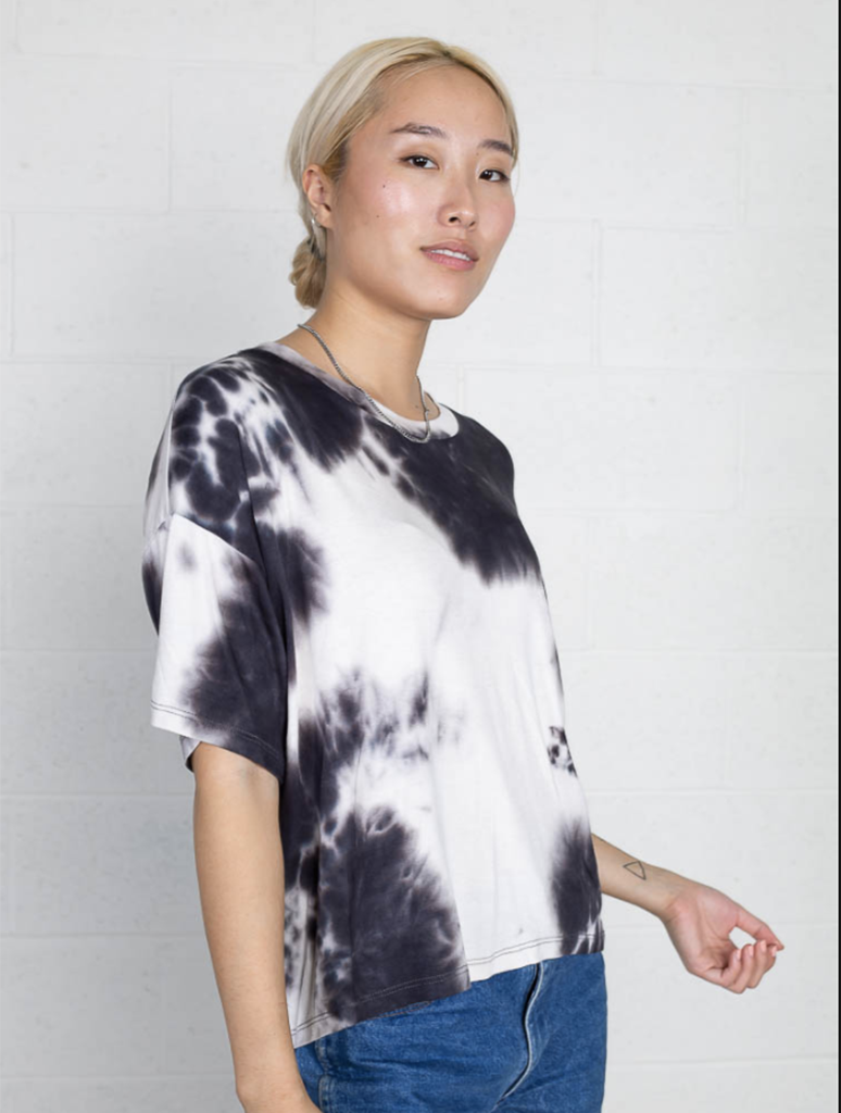 No Less Than NLT Bruce Basic Printed Tee in Black and White Tie Dye