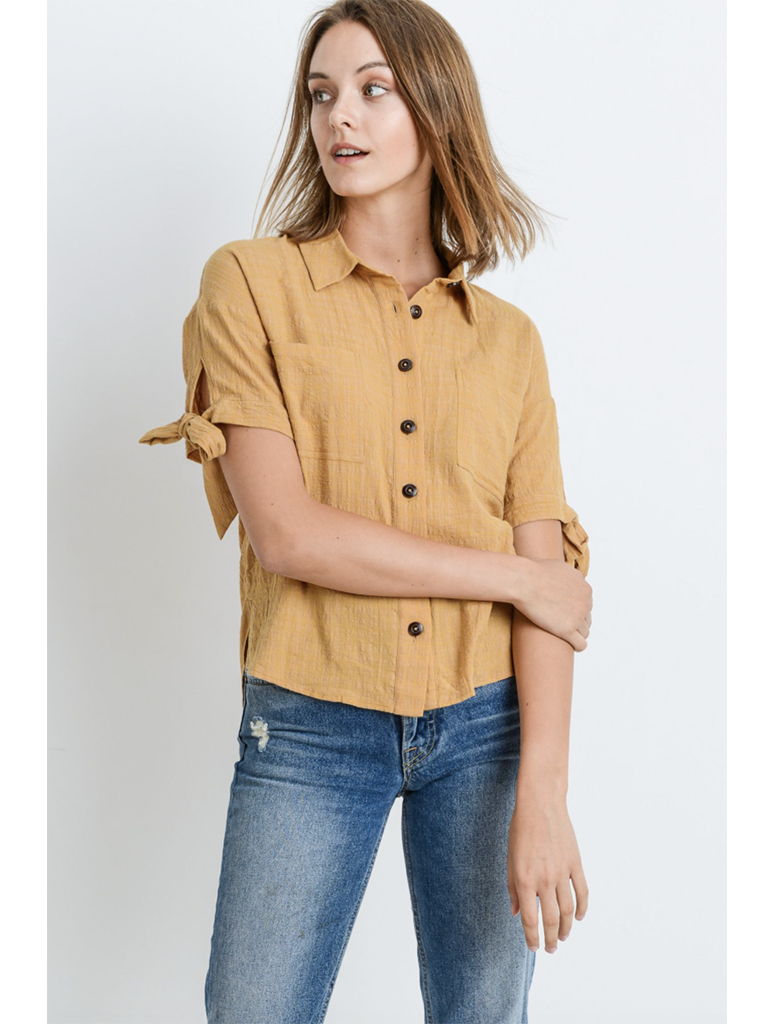Paper Crane Tie Sleeve Button Up Top in Mustard