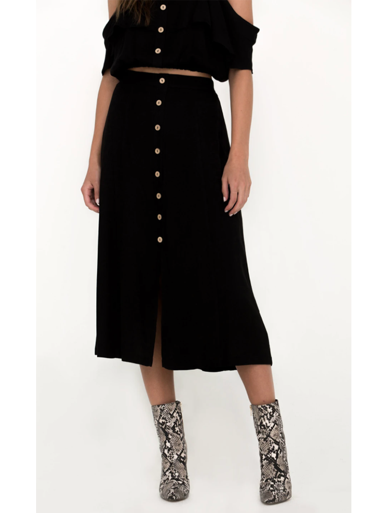 Miss Me Button Midi Skirt in Black