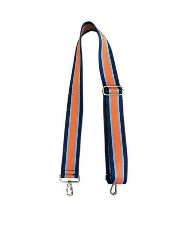 "Ahdorned 2"" Bag Strap in Navy/Turq/Orange Medallion"