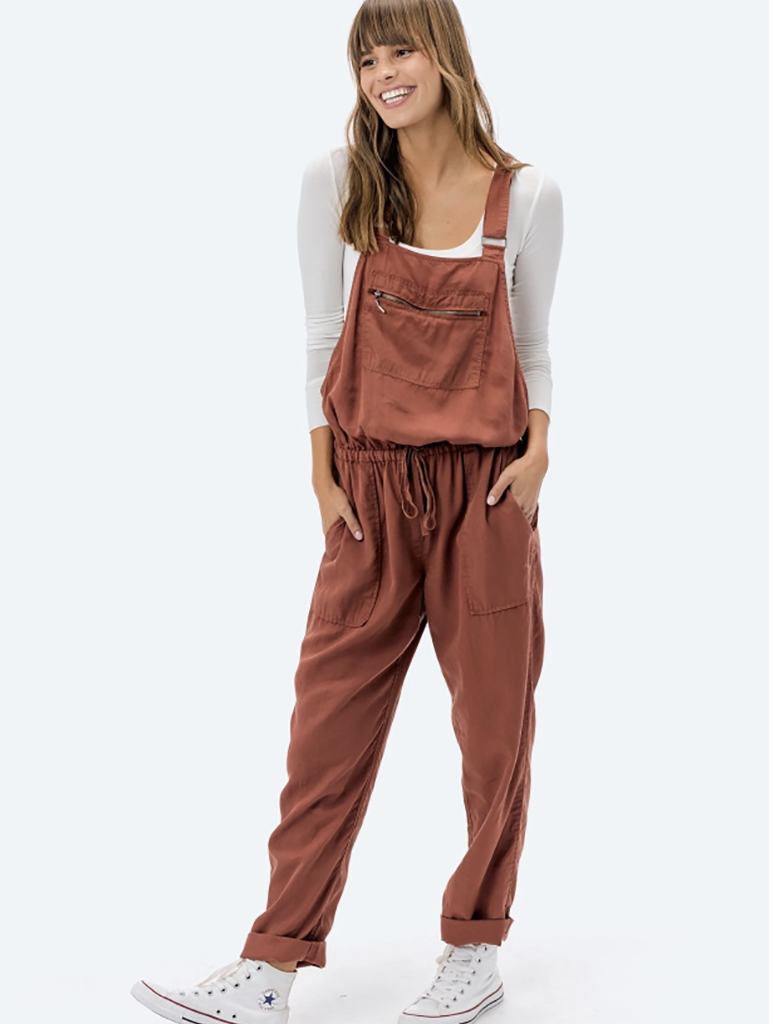 Love Stitch Relaxed Overalls in Saddle