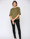 FATE Terry Pocket Sweatshirt Tee in Olive