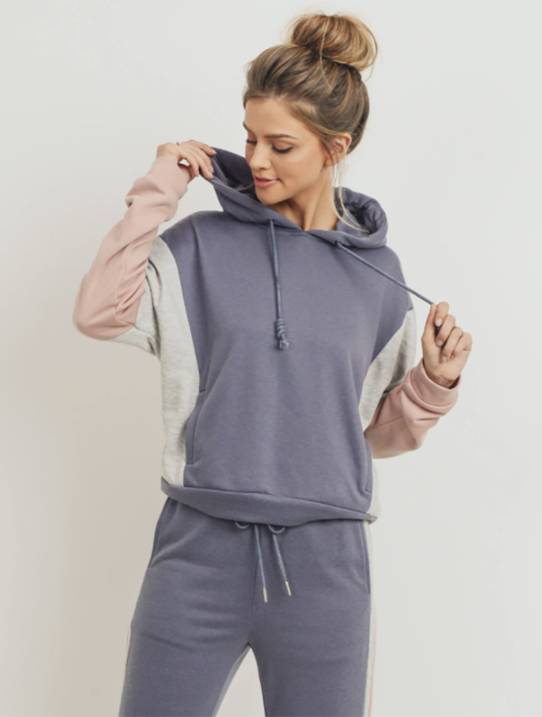 Paper Crane Color Blocked Lounge Hoodie in Charcoal Multi