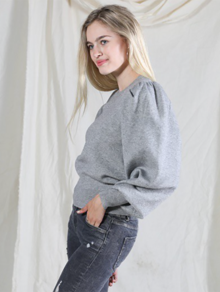 Very J Puff Sleeve Sweater Top in Charcoal