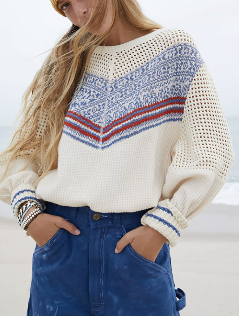 Free People Geo Party Pullover in Ivory Multi