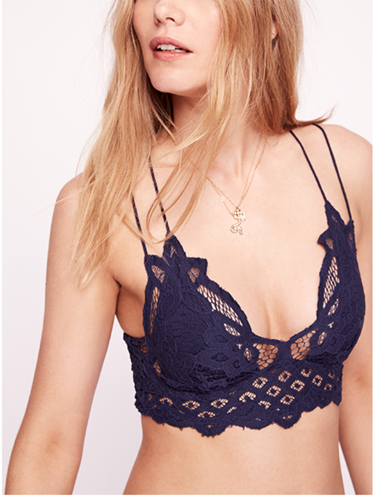 Free People Adella Bralette in Navy