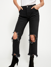 Free People Maggie Distressed Jeans in Black Denim