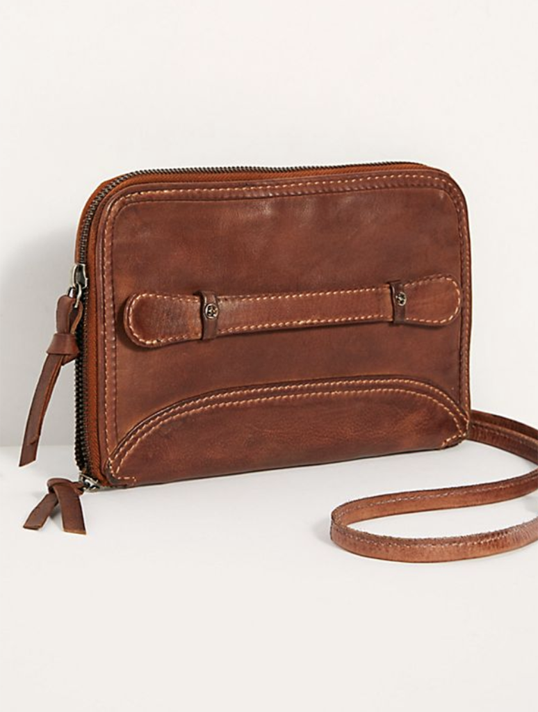Free People Traveler Wallet Crossbody Bag in Brown/Cognac