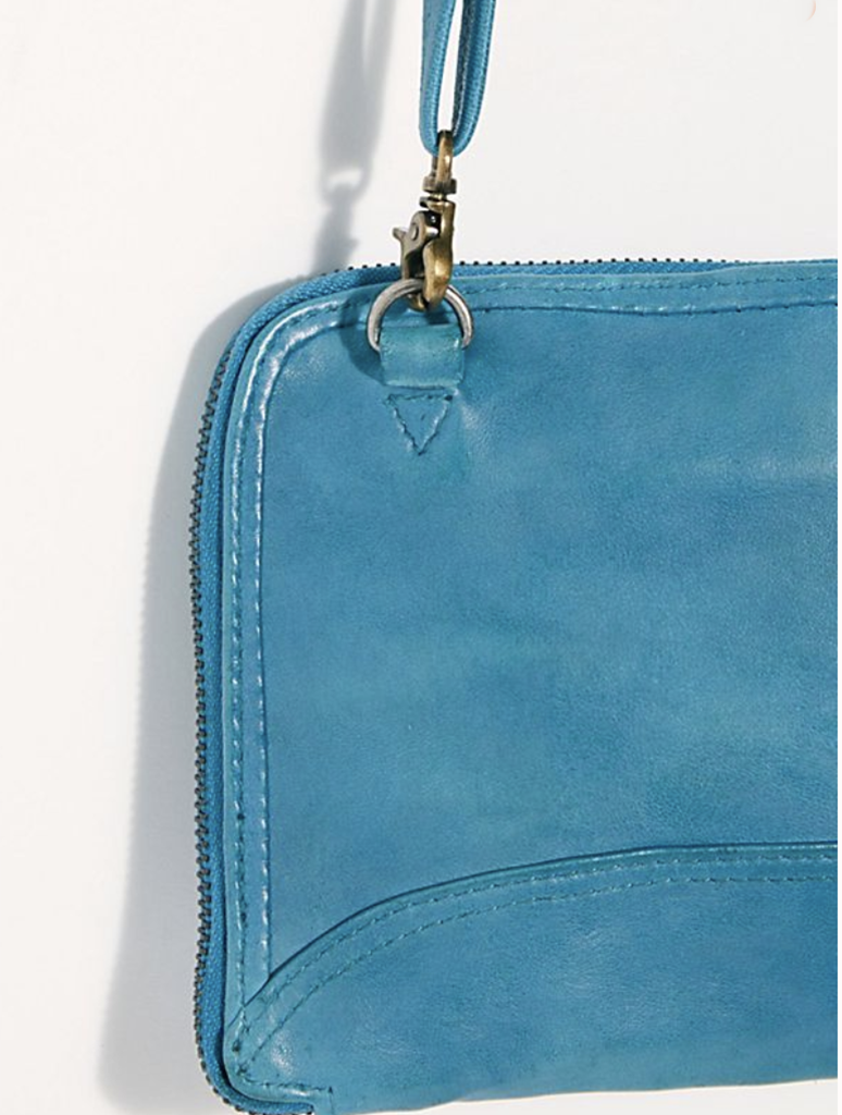Free People Traveler Wallet Crossbody Bag in Turquiose
