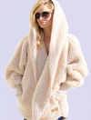 Nordic Beach Wrap Fuzzy Fleece Jacket in Fluffy Frappe