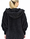 Nordic Beach Wrap Fuzzy Jacket in Black Licorice
