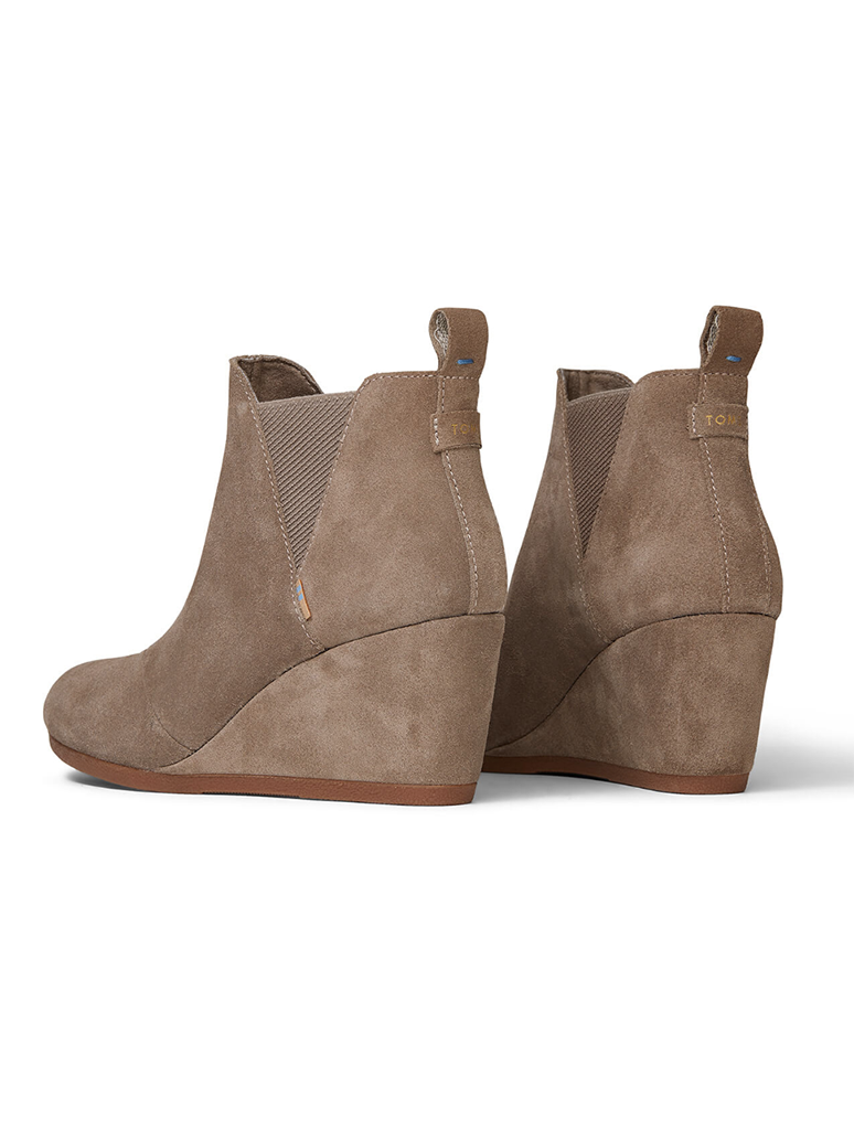 TOMS Kelsey Slip On Wedge Boot in Taupe