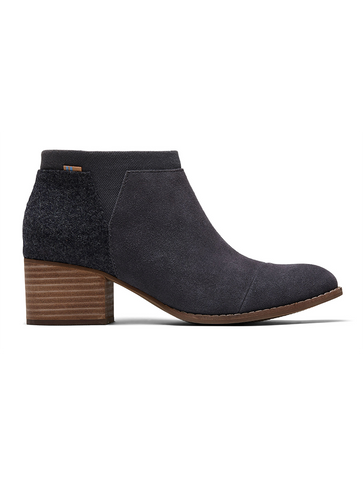 Eric Michael Quebec Suede Heeled Ankle Boot in Black