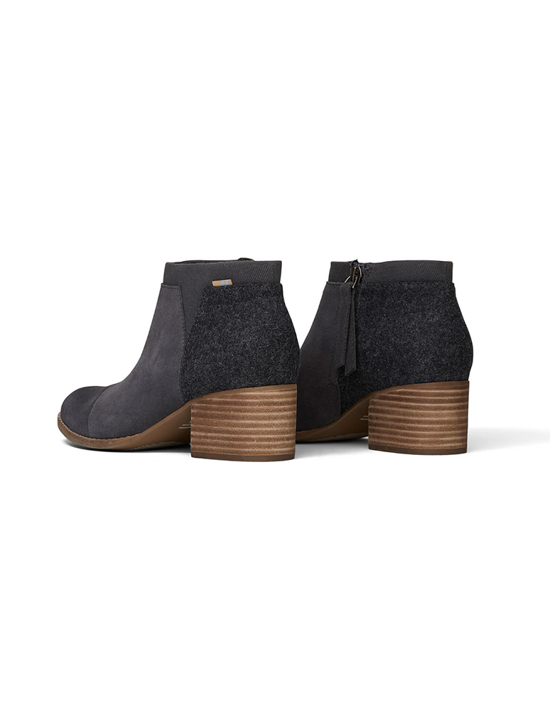 TOMS Loren Stack Heel Ankle Bootie in Iron