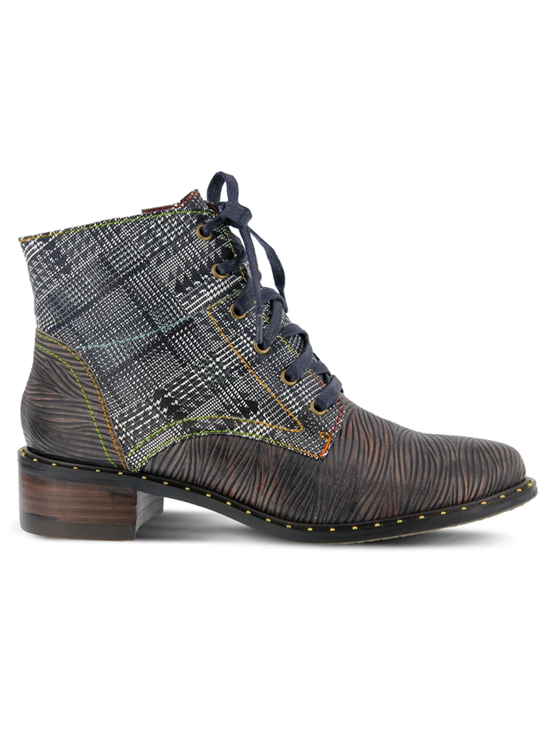 L'Artiste Mazoya Black Lace Up Plaid Boot in Black Multi