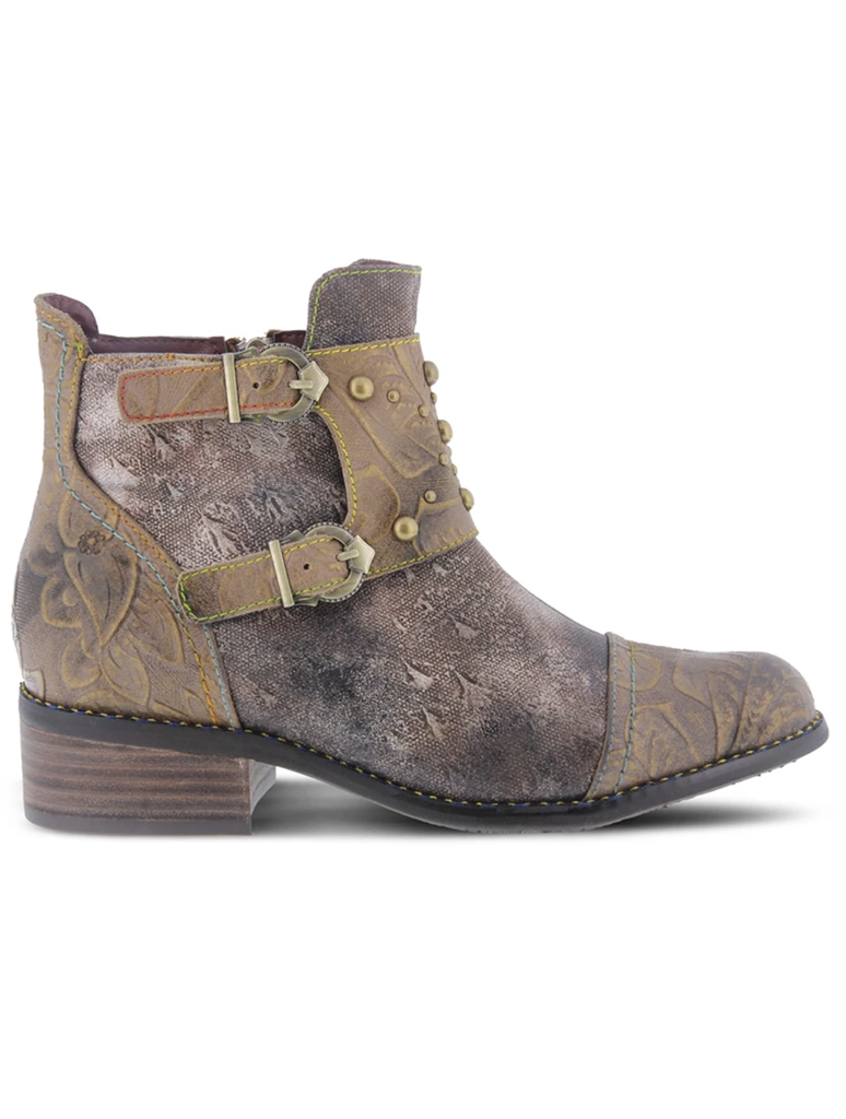 L'Artiste Nailhead Brown Short Double Buckle Mutli Pattern Boot in Brown
