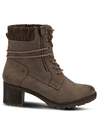Spring Step Hellewn Heeled Lace Up Boot in Taupe