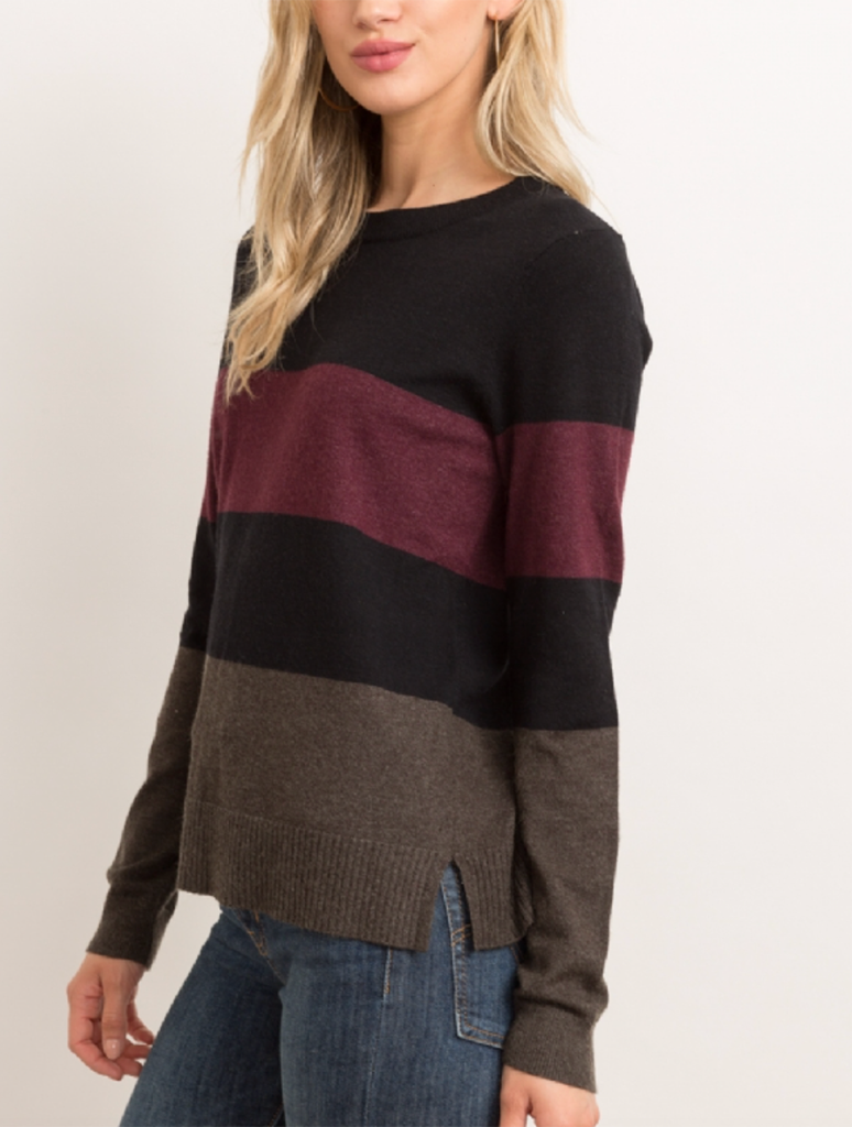 Hem & Thread Color Block Sweater in Olive