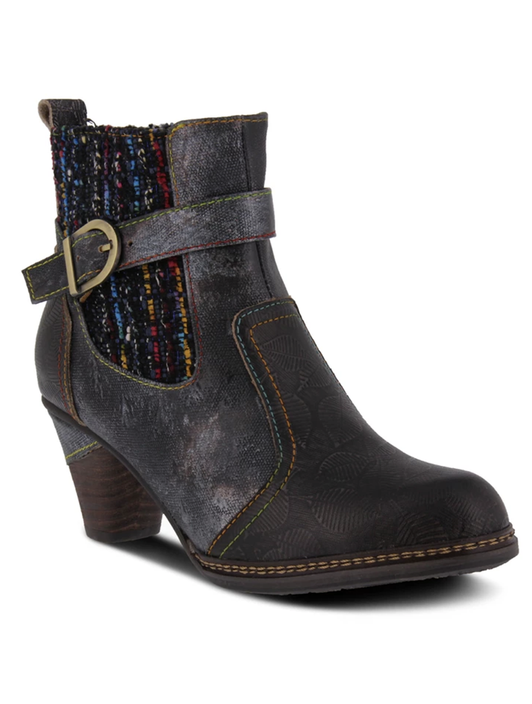 L'Artiste Nancies Black Knit Side Heel Bootie in Black