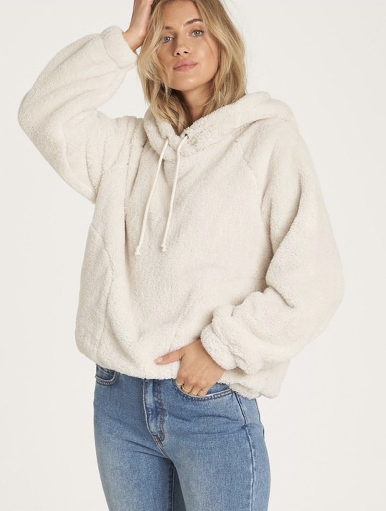 Billabong Warm Regards Sherpa Fleece Hoodie in White Cap